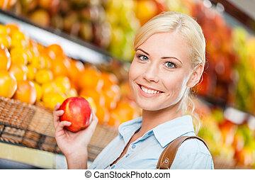 shopping, maçã, mãos, centro comercial, escolher, frutas, menina