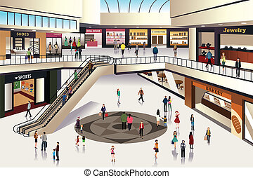 Shopping mall - A vector illustration of scene inside ...