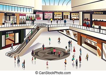 Shopping mall - A vector illustration of scene inside ...