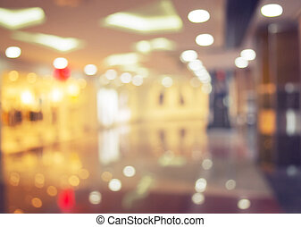 Shopping mall blurred background, image tinted, bokeh