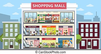 Shopping mall center.