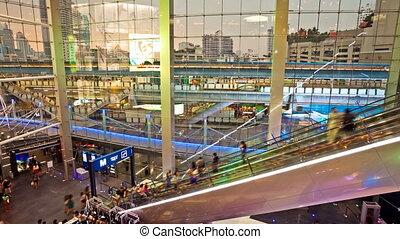 Shopping mall escalators timelapse - Terminal 21, a newly...