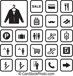 shopping mall icons set on white background