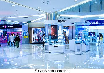 Spatial detail of modern shopping mall in Shanghai.