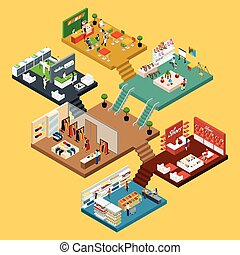 Shopping Mall Isometric concept - Mall Isometric icon set...