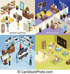 Shopping Mall Isometric Design Concept - Shopping mall...