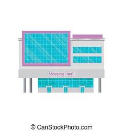 Shopping mall or office building facade with screen, modern city house cartoon vector Illustration