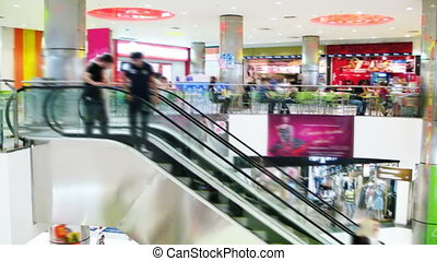 Shopping Mall - Time lapse video of escalators in shopping...