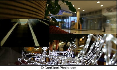 Shopping mall - Video collage of Christmas time in the...