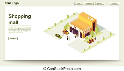 Shopping mall webpage vector template with isometric illustration