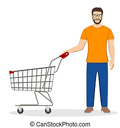 shopping man with a cart