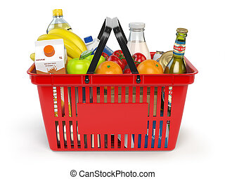 Shopping market basket with variety of grocery products...