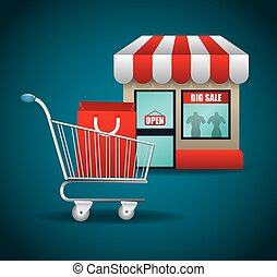 shopping market shop store icon set - shopping cart bag shop...