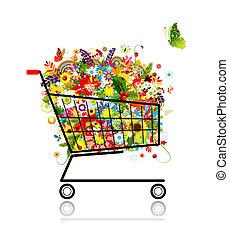 shopping, mazzolino, carrello, disegno, floreale, tuo