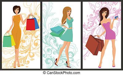 shopping, menina, bandeira