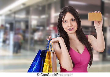 shopping, menina, com, cartão crédito
