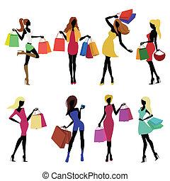 shopping, menina, silhuetas