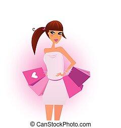 shopping, meninas, com, cor-de-rosa, sacolas