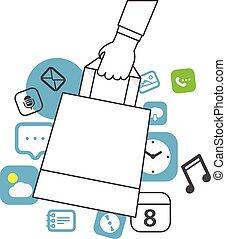 shopping, mobile, concept., illustrazione, semplice, disegno, linea