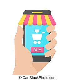 shopping, mobile, concept., illustrazione, vettore, linea