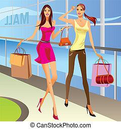 shopping, moda, meninas, sacolas