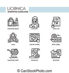 Shopping - modern vector flat line icon set. - Shopping -...