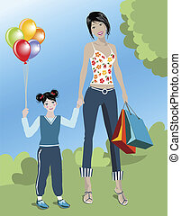 SHOPPING MOM - illustration of a woman with her daughter ...
