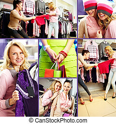 Shopping moment - Collage of pretty friends during shopping...