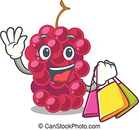 Shopping mulberry in the character fruit basket vector...