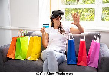 shopping mulher, óculos, realidade virtual