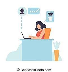 shopping, mulher, computador, trabalhando, móvel, jovem, ilustração, laptop, vetorial, comprar, online, usando, menina, loja