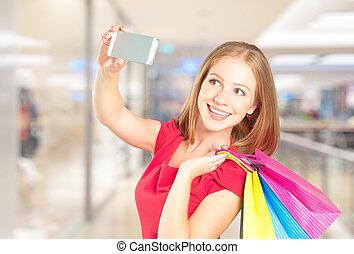 shopping mulher, feliz, sacolas, sucedido, selfie