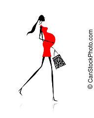 shopping mulher, grávida, saco, desenho, seu