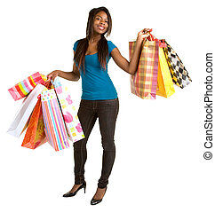 shopping mulher, jovem, americano, africano, spree