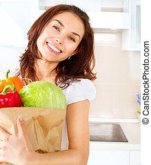 shopping mulher, legumes, jovem, dieta, conceito, bag., feliz