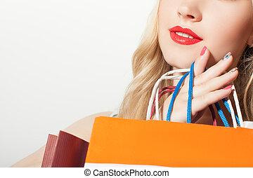 shopping mulher, loura, saudável, após, ir, bonito