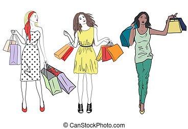 shopping mulher, set., meninas, moda, shopping., grupo, amigos, feliz