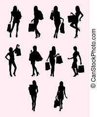 shopping, mulher, silueta