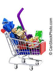 shopping, natale, carrello