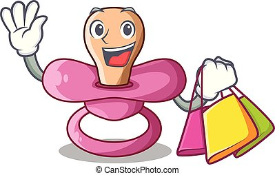 Shopping newborn is sucking a pacifier cartoon vector illustration