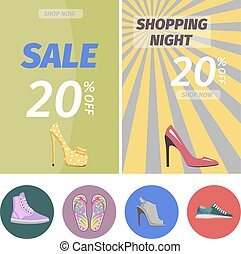 Shopping Night with Big Sale in Shoes Store Poster