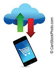 shopping, nuvem, ilustração, online