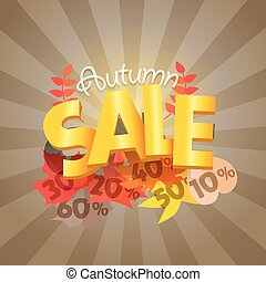 shopping, offerta, advirtising, banner., vendita, autunno, scontare, template., speciale