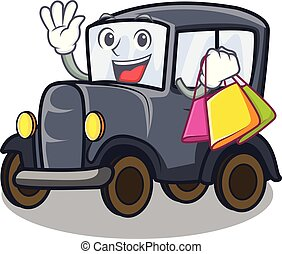 Shopping old car isolated in the cartoon