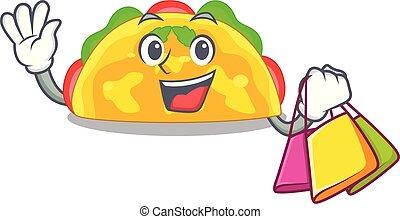 Shopping omelatte is fried on character teflon vector ...