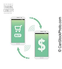 Shopping on internet with mobile phone vector.