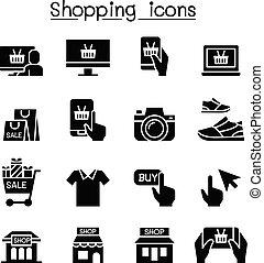Shopping on line icon set