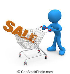 Shopping on Sales - Person pushing a shopping cart with the...
