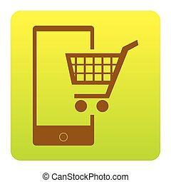 Shopping on smart phone sign. Vector. Brown icon at green-yellow gradient square with rounded corners on white background. Isolated.