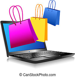 Shopping on the Internet - Concept icon computer shopping on...
